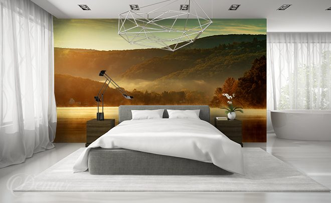 A-mountain-lake-in-the-morning-bedroom-wallpapers-demur