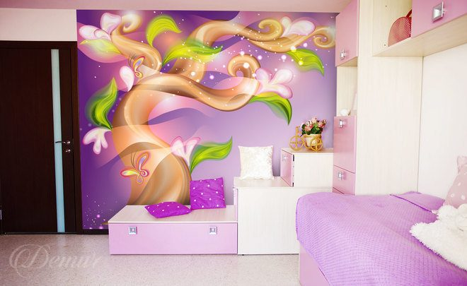 Butterfly-flights-among-the-nature-girls-room-wallpapers-demur