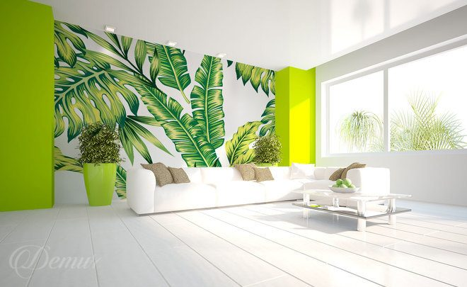 Exotically-leaved-living-room-wallpapers-demur